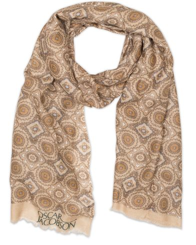 Oscar Jacobson Big Medallion Scarf Beige  i gruppen Accessoarer / Scarves hos Care of Carl (13259410)