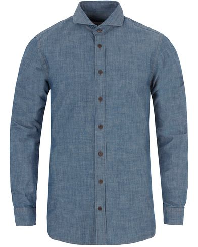 Oscar Jacobson Herman 2 Chambray Shirt Dark Blue i gruppen Skjorter / Jeansskjorter hos Care of Carl (13260011r)