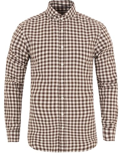 Oscar Jacobson Herman 2 Flannel Check Shirt Brown i gruppen Skjortor / Flanellskjortor hos Care of Carl (13260511r)