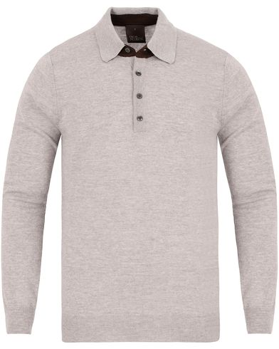 Oscar Jacobson Augustin Tech Merino Polo Grey i gruppen Tr�jor / Stickade Tr�jor hos Care of Carl (13260611r)