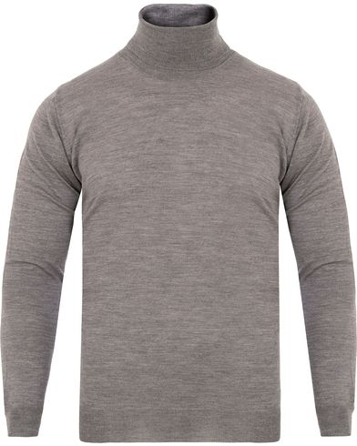 Oscar Jacobson Cole Extra Fine Merino Polo Grey i gruppen Gensere / Pologensere hos Care of Carl (13260911r)