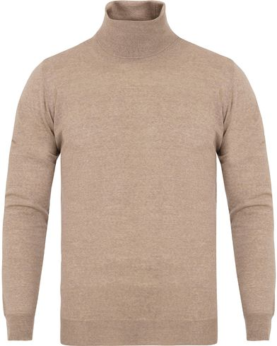 Oscar Jacobson Cole Extra Fine Merino Polo Camel Brown i gruppen Design A / Gensere / Pologensere hos Care of Carl (13261011r)