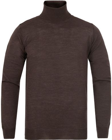 Oscar Jacobson Cole Extra Fine Merino Polo Brown i gruppen Design A / Gensere / Pologensere hos Care of Carl (13261311r)
