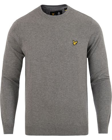 Lyle & Scott Crew Neck Cotton Merino Mid Grey i gruppen Tröjor / Pullovers / Rundhalsade pullovers hos Care of Carl (13264711r)