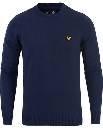 Lyle & Scott Crew Neck Cotton Merino Navy i gruppen Design A / Gensere / Pullover / Pullovere rund hals hos Care of Carl (13264811r)