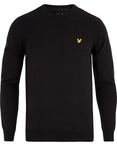 Lyle & Scott Crew Neck Cotton Merino Black i gruppen Kläder / Tröjor / Pullovers / Rundhalsade pullovers hos Care of Carl (13264911r)