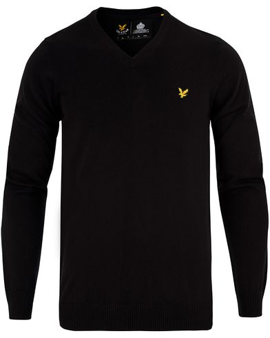 Lyle & Scott V-Neck Cotton Merino Black i gruppen Tr�jor / Pullover / Pullover V-ringad hos Care of Carl (13265411r)