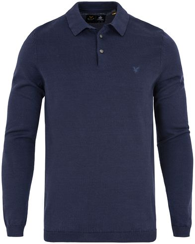 Lyle & Scott Mercerised Knitted Polo Navy i gruppen Kläder / Tröjor / Pullovers / V-ringade pullovers hos Care of Carl (13266311r)