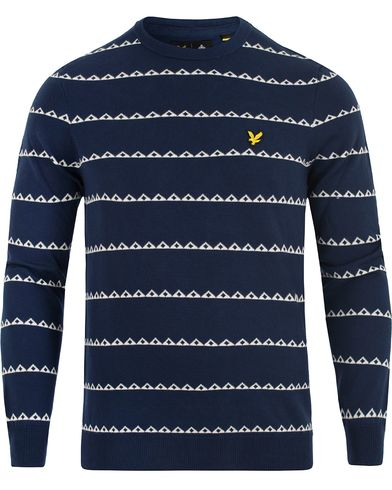 Lyle & Scott Striped Newmetric Print Navy i gruppen Tröjor / Stickade tröjor hos Care of Carl (13266911r)
