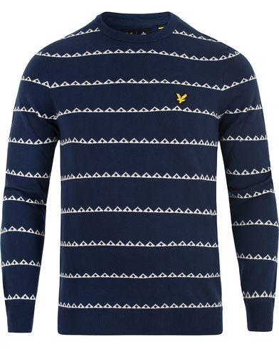 Lyle & Scott Striped Newmetric Print Navy i gruppen Kläder / Tröjor / Stickade tröjor hos Care of Carl (13266911r)