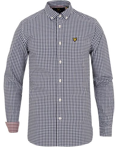 Lyle & Scott Gingham Check Shirt Navy i gruppen Skjorter / Casual skjorter hos Care of Carl (13267011r)