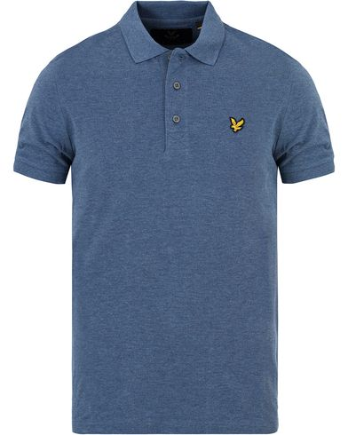 Lyle & Scott Plain Pique Polo Shirt Indigo Marl i gruppen Pikéer / Kortermet piké hos Care of Carl (13267811r)