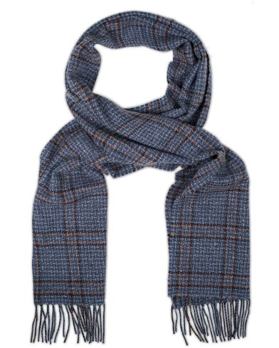 Johnstons of Elgin Cashmere Donegal Check Scarf Denim Blue  i gruppen Accessoarer / Halsdukar hos Care of Carl (13271610)
