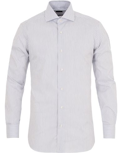 Barba Napoli Slim Fit Striped Shirt Grey/White i gruppen Skjorter / Formelle skjorter hos Care of Carl (13271711r)