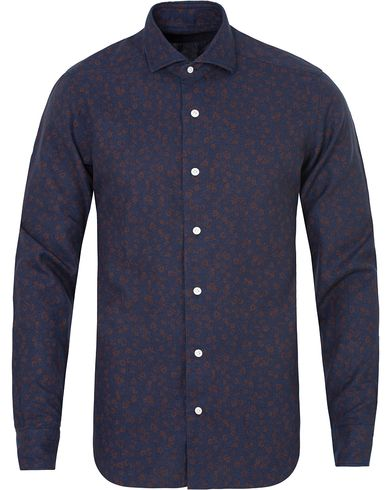 Barba Napoli Dandylife Flower Slim Fit Shirt Dark Blue/Brown i gruppen Skjorter / Casual skjorter hos Care of Carl (13271811r)
