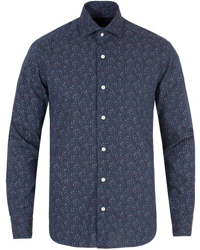 Barba Napoli Dandylife Micro Flower Slim Fit Shirt Denim i gruppen Klær / Skjorter / Casual skjorter hos Care of Carl (13271911r)