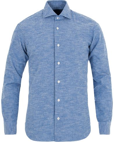 Barba Napoli Dandylife Washed Flannel Slim Fit Shirt Blue i gruppen Skjorter / Businesskjorter hos Care of Carl (13272411r)