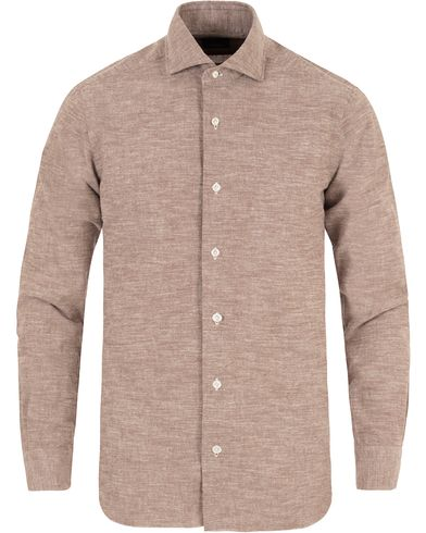 Barba Napoli Dandylife Washed Flannel Slim Fit Shirt Brown i gruppen Skjortor / Flanellskjortor hos Care of Carl (13272611r)