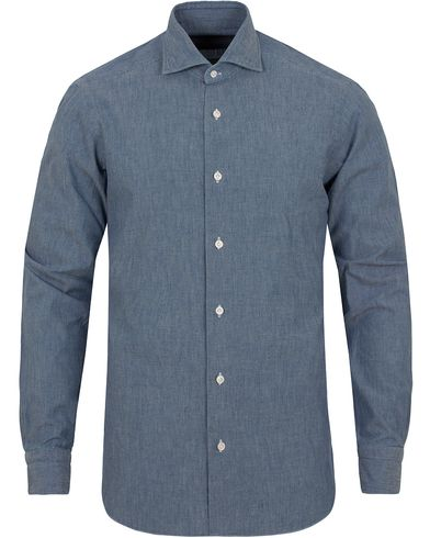 Barba Napoli Dandylife Chambray Slim Fit Shirt Light Blue i gruppen Klær / Skjorter / Jeansskjorter hos Care of Carl (13273011r)
