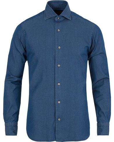 Barba Napoli Dandylife Denim Slim Fit Shirt Dark Blue i gruppen Skjortor / Jeansskjortor hos Care of Carl (13273111r)
