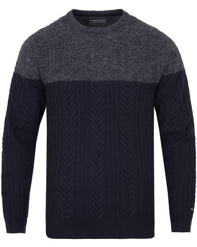 Tommy Hilfiger Elim Block Sweater Silver Fog Heather i gruppen Tröjor / Stickade tröjor hos Care of Carl (13274911r)