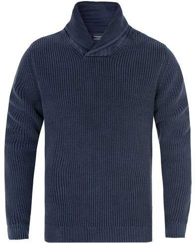 Tommy Hilfiger Baxter Garment Dyed Shawl Sweater Navy Blazer i gruppen Gensere / Strikkede gensere hos Care of Carl (13275011r)