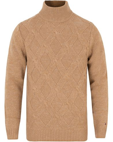 Tommy Hilfiger Wyatt Quilted Stitch Rollneck Tigers Eye Heather i gruppen Gensere / Pologensere hos Care of Carl (13275211r)