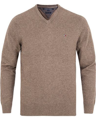 Tommy Hilfiger Pima Cotton/Cashmere V-Neck Pullover Walnut Heather i gruppen Design A / Gensere / Pullover / Pullovers v-hals hos Care of Carl (13276311r)