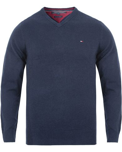 Tommy Hilfiger Pima Cotton/Cashmere V-Neck Pullover Navy Blazer Heather i gruppen Tröjor / Pullovers / V-ringade pullovers hos Care of Carl (13276411r)