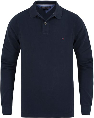 Tommy Hilfiger Long Sleeve Slim Fit Polo Shirt Navy Blazer i gruppen Pik�er / L�ng�rmad Pik� hos Care of Carl (13278611r)