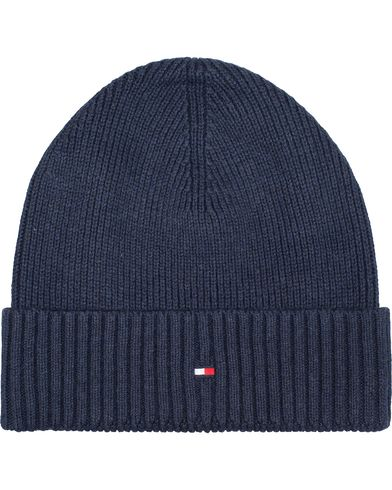 Tommy Hilfiger Pima Cotton/Cashmere Beanie Navy Blazer Heather  i gruppen Design A / Assesoarer / Luer hos Care of Carl (13280010)