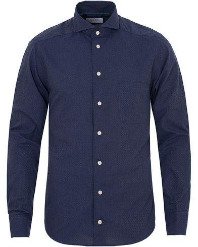 Eton Slim Fit Green Ribbon Flannel Dot Shirt Dark Blue i gruppen Skjortor / Flanellskjortor hos Care of Carl (13281011r)