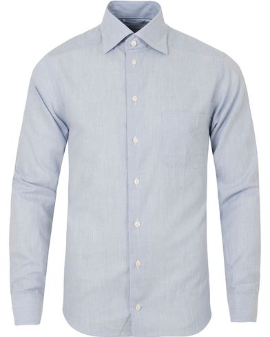 Eton Slim Fit Green Ribbon Flannel Shirt Light Blue i gruppen Skjortor / Flanellskjortor hos Care of Carl (13281711r)