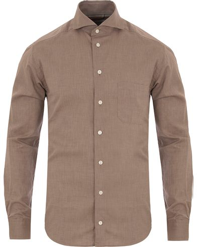 Eton Slim Fit Green Ribbon Flannel Shirt Light Brown i gruppen Skjortor / Flanellskjortor hos Care of Carl (13281811r)