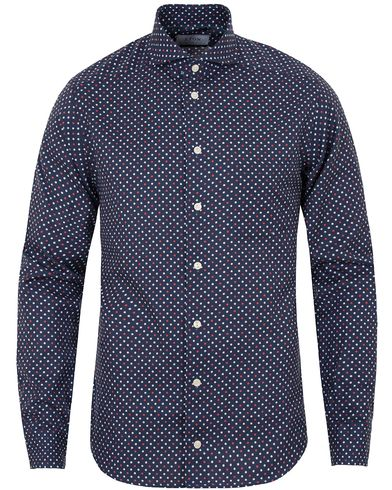 Eton Slim Fit Green Ribbon Flannel Dot Shirt Blue/White i gruppen Skjortor / Flanellskjortor hos Care of Carl (13282211r)