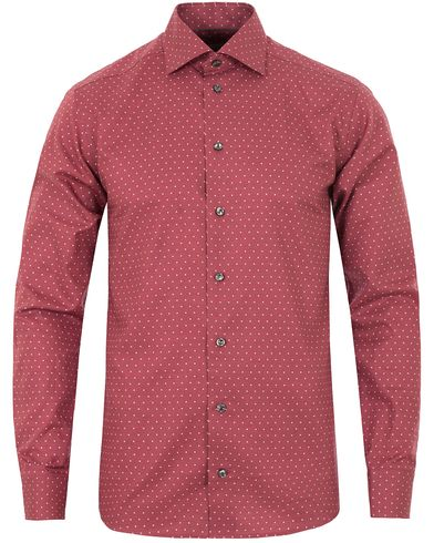 Eton Slim Fit Twill Dot Cut Away Shirt Red i gruppen Skjortor / Casual skjortor hos Care of Carl (13282311r)