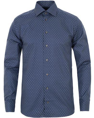 Eton Slim Fit Twill Dot Cut Away Shirt Navy i gruppen Klær / Skjorter / Casual skjorter hos Care of Carl (13282411r)