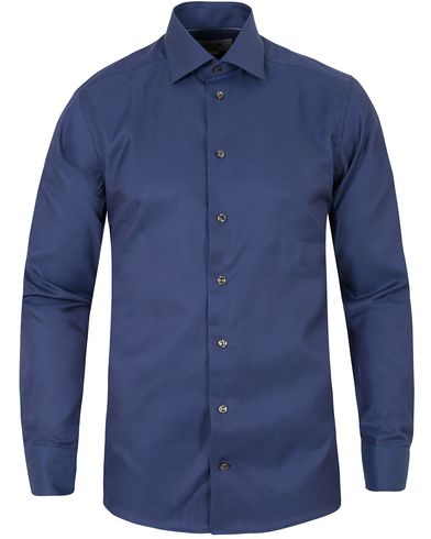Eton Slim Fit Twill Dot Cut Away Shirt Dark Blue i gruppen Kläder / Skjortor / Formella skjortor hos Care of Carl (13282711r)