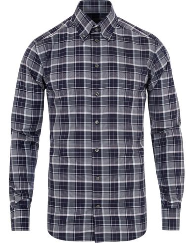 Eton Slim Fit Big Check Twill Shirt Navy i gruppen Kläder / Skjortor / Casual skjortor hos Care of Carl (13282911r)