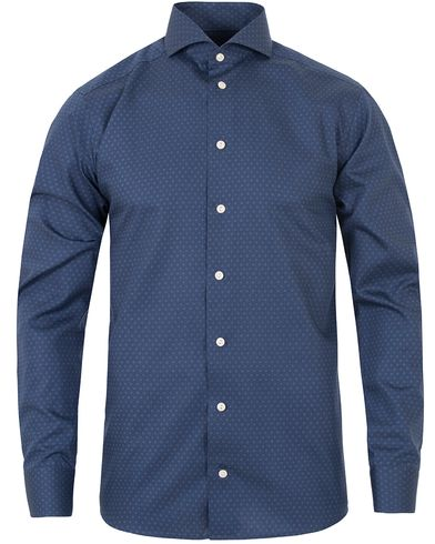 Eton Slim Fit Twill Dot Shirt Blue i gruppen Skjortor / Businesskjortor hos Care of Carl (13283011r)