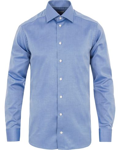 Eton Slim Fit Herringbone Twill Shirt Blue i gruppen Klær / Skjorter / Formelle skjorter hos Care of Carl (13283311r)