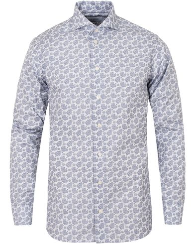 Eton Slim Fit Poplin Big Paisley Shirt White/Blue i gruppen Skjorter / Casual skjorter hos Care of Carl (13283511r)
