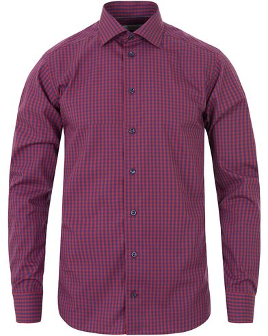 Eton Slim Fit Poplin Check Shirt Red/Blue i gruppen Skjorter / Casual skjorter hos Care of Carl (13283611r)