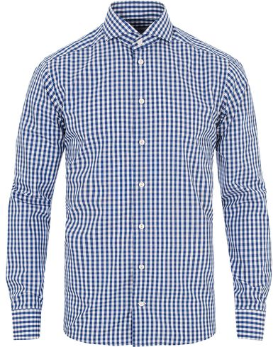 Eton Slim Fit Poplin Check Shirt Blue i gruppen Skjortor / Businesskjortor hos Care of Carl (13283711r)