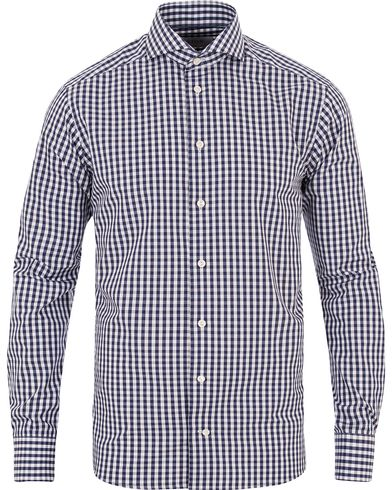 Eton Slim Fit Poplin Check Shirt Dark Blue i gruppen Design B / Kläder / Skjortor / Formella skjortor hos Care of Carl (13283811r)