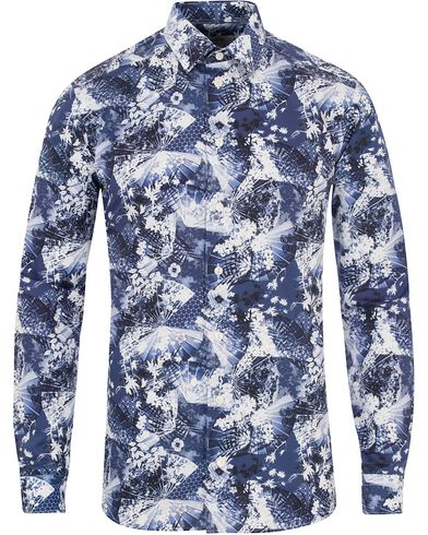 Eton Slim Fit Flower Twill Shirt Blue i gruppen Skjorter / Casual Skjorter hos Care of Carl (13283911r)