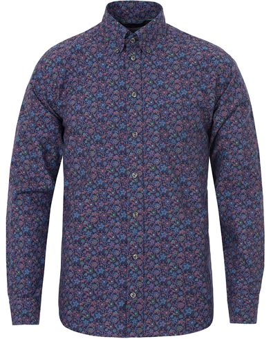 Eton Slim Fit Green Ribbon Poplin Flower Shirt Blue/Purple i gruppen Skjortor / Casual Skjortor hos Care of Carl (13284011r)