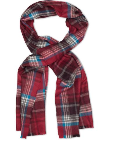 Eton Merino Big Check Scarf Red  i gruppen Accessoarer / Halsdukar hos Care of Carl (13284610)