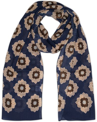 Eton Wool Retro Flower Scarf Navy  i gruppen Assesoarer / Scarves hos Care of Carl (13284910)