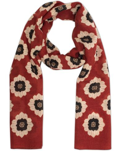 Eton Wool Retro Flower Scarf Blood Red  i gruppen Accessoarer / Scarves hos Care of Carl (13285010)